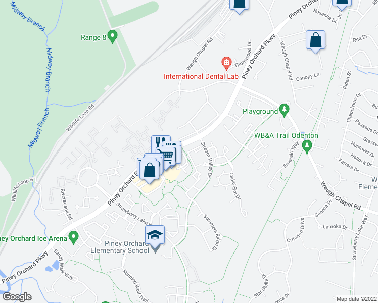 map of restaurants, bars, coffee shops, grocery stores, and more near 707 Linden Grove Place in Odenton