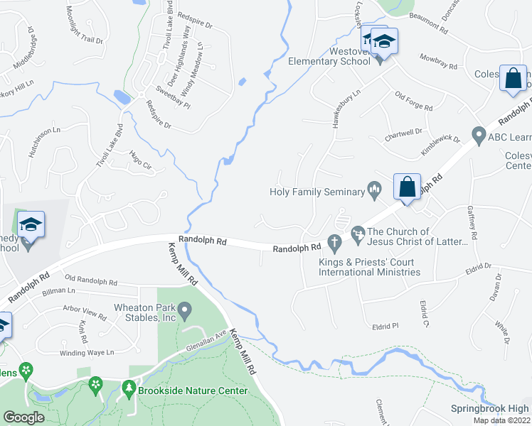 map of restaurants, bars, coffee shops, grocery stores, and more near 720 Brandon Green Dr in Silver Spring