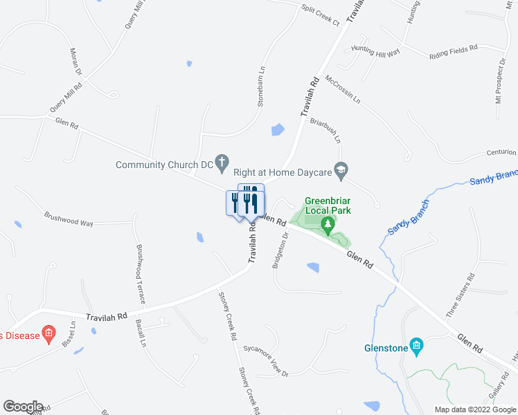 map of restaurants, bars, coffee shops, grocery stores, and more near 12800 Glen Road in Gaithersburg