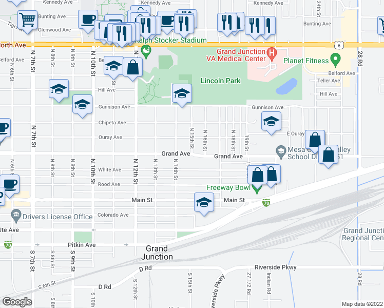 map of restaurants, bars, coffee shops, grocery stores, and more near 333 North 15th Street in Grand Junction
