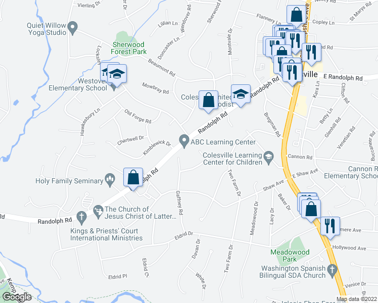 map of restaurants, bars, coffee shops, grocery stores, and more near 170 Randolph Road in Silver Spring