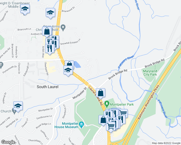 map of restaurants, bars, coffee shops, grocery stores, and more near 13010 Old Stagecoach Road in Laurel