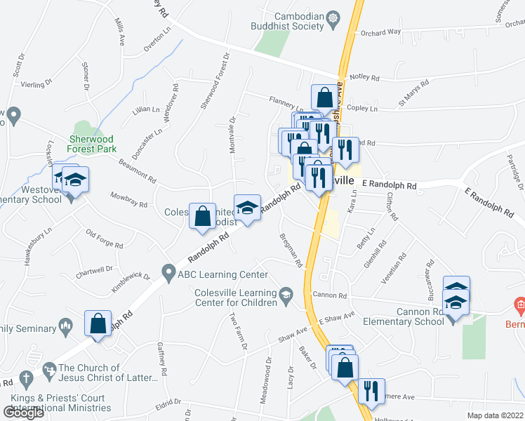 map of restaurants, bars, coffee shops, grocery stores, and more near 13230 Bregman Road in Silver Spring