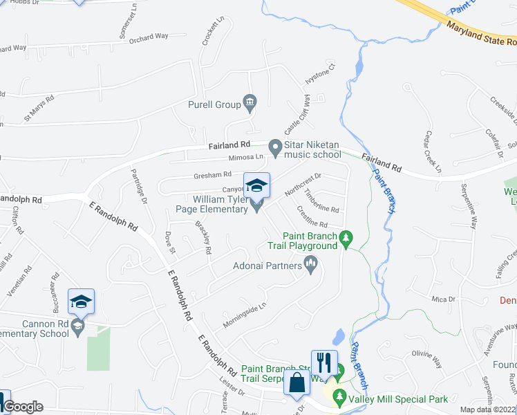 map of restaurants, bars, coffee shops, grocery stores, and more near 13400 Tamarack Road in Colesville