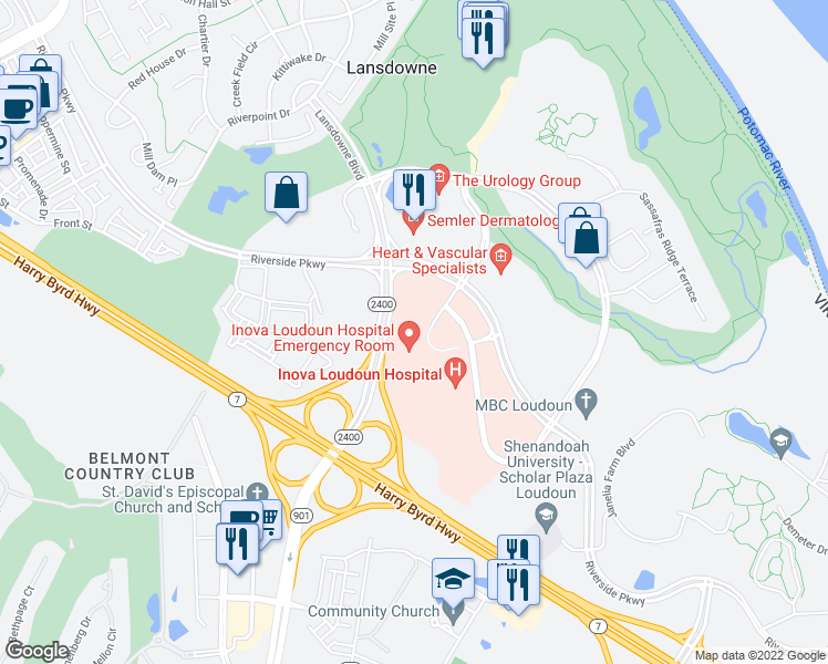 map of restaurants, bars, coffee shops, grocery stores, and more near 19524 Loudoun Orchard Road in Leesburg