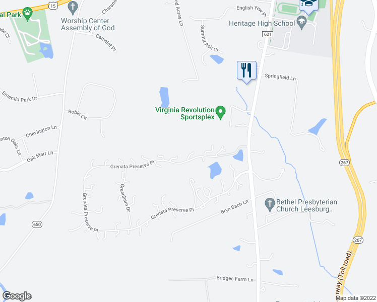 map of restaurants, bars, coffee shops, grocery stores, and more near 40529 Grenata Preserve Pl in Leesburg