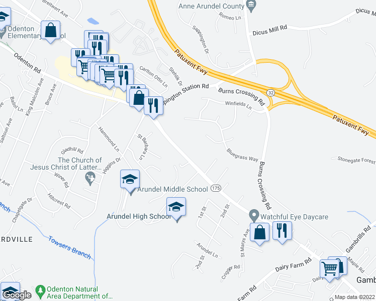 map of restaurants, bars, coffee shops, grocery stores, and more near 1012 Annapolis Rd in Gambrills