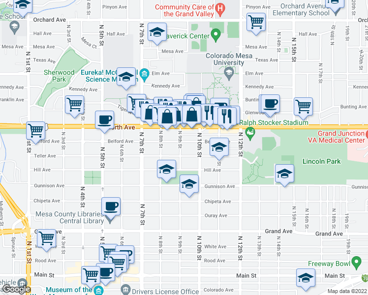 map of restaurants, bars, coffee shops, grocery stores, and more near 926 North 9th Street in Grand Junction