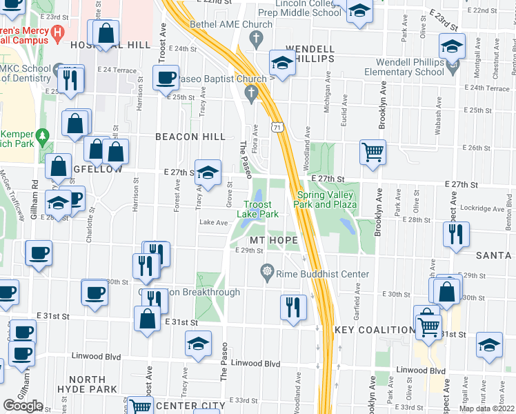 map of restaurants, bars, coffee shops, grocery stores, and more near East 27th Street in Kansas City