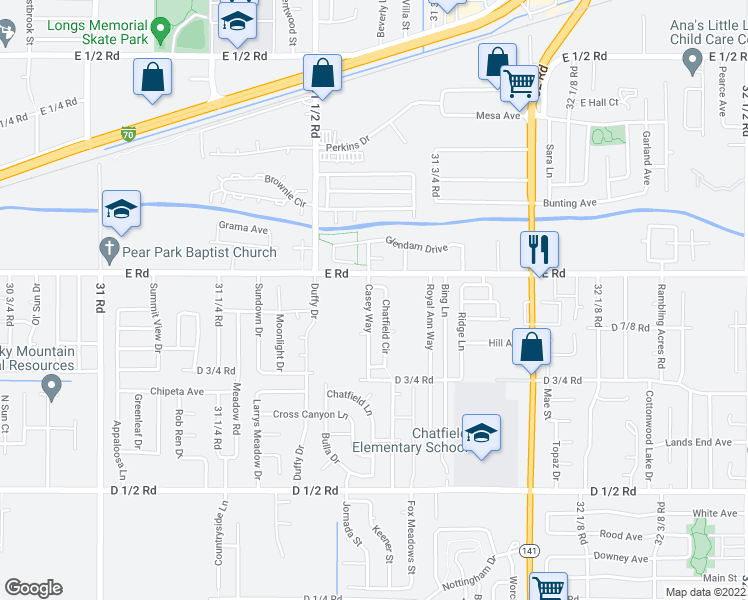 map of restaurants, bars, coffee shops, grocery stores, and more near 494 Casey Way in Grand Junction