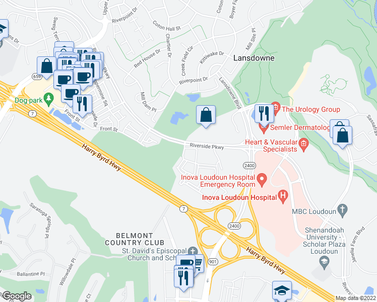 map of restaurants, bars, coffee shops, grocery stores, and more near 43805 Stoney Brook Square in Leesburg
