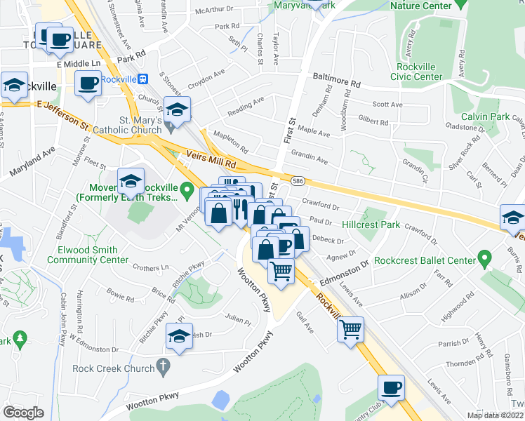 map of restaurants, bars, coffee shops, grocery stores, and more near 100 1st Street in Rockville