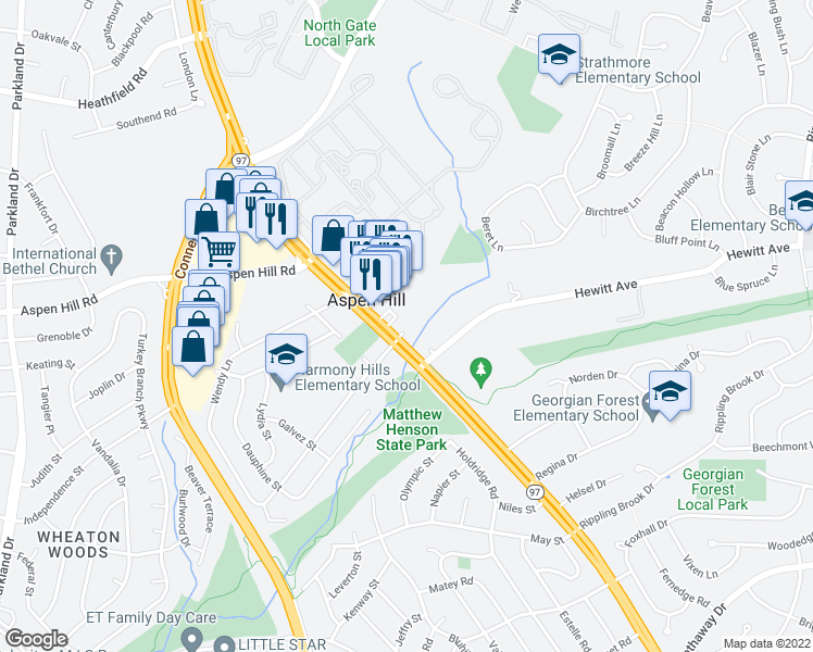 map of restaurants, bars, coffee shops, grocery stores, and more near 13515 Georgia Avenue in Silver Spring
