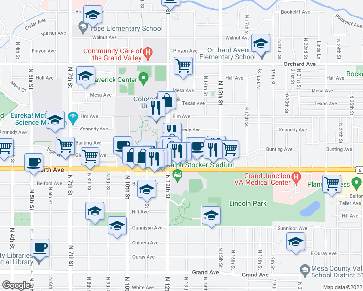 map of restaurants, bars, coffee shops, grocery stores, and more near 1231 Bunting Avenue in Grand Junction