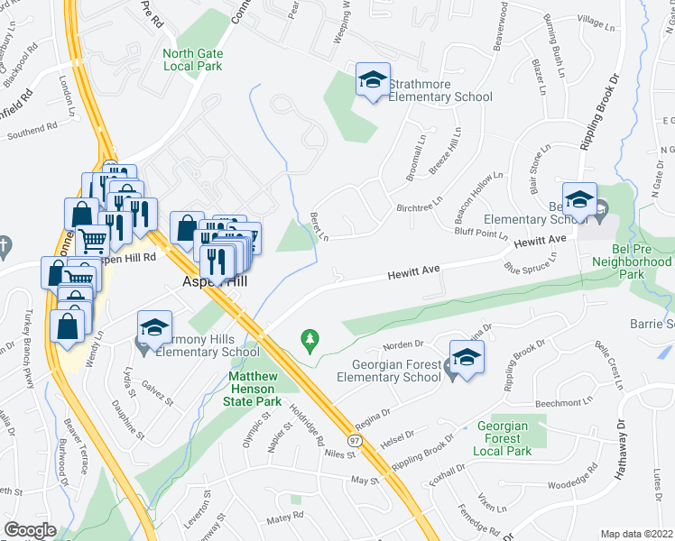 map of restaurants, bars, coffee shops, grocery stores, and more near 3301 Hewitt Avenue in Silver Spring