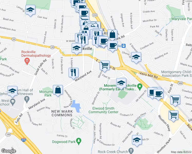map of restaurants, bars, coffee shops, grocery stores, and more near 209 Monroe Street in Rockville