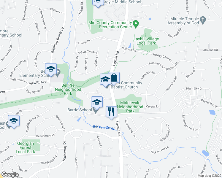 map of restaurants, bars, coffee shops, grocery stores, and more near in Silver Spring