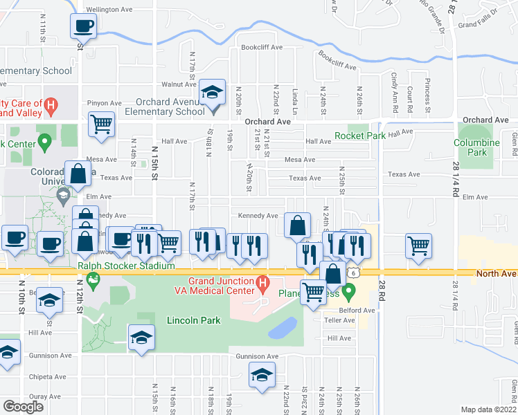 map of restaurants, bars, coffee shops, grocery stores, and more near 2100 Kennedy Avenue in Grand Junction