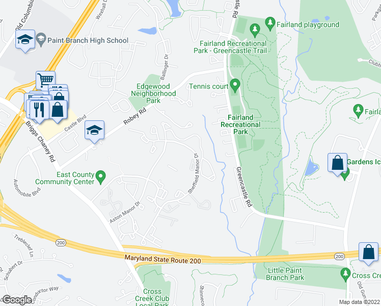 map of restaurants, bars, coffee shops, grocery stores, and more near 3525 Sheffield Manor Terrace in Silver Spring