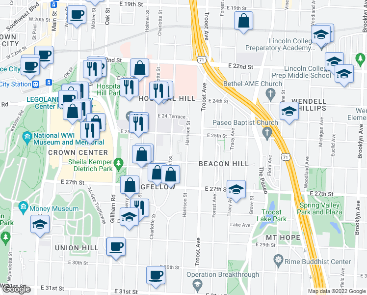 map of restaurants, bars, coffee shops, grocery stores, and more near 2526 Harrison Street in Kansas City