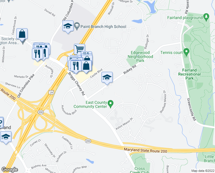 map of restaurants, bars, coffee shops, grocery stores, and more near 13600-13798 Robey Road in Silver Spring