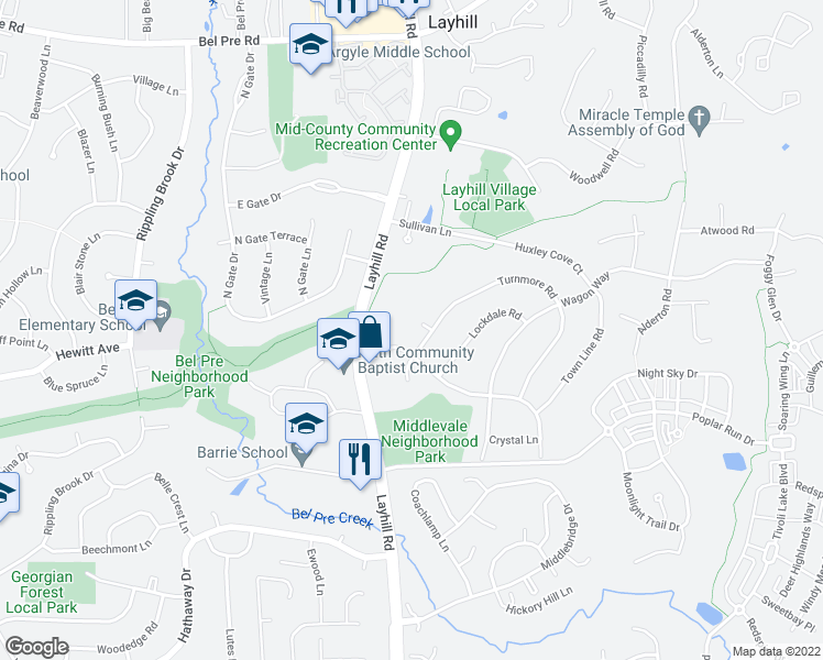 map of restaurants, bars, coffee shops, grocery stores, and more near in Aspen Hill
