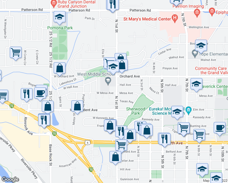 map of restaurants, bars, coffee shops, grocery stores, and more near 102 West Mesa Avenue in Grand Junction