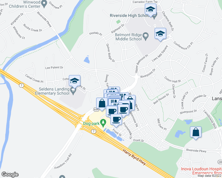 map of restaurants, bars, coffee shops, grocery stores, and more near 19206 Sweig Terrace in Leesburg