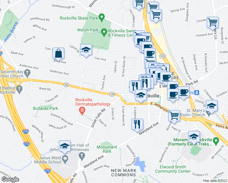 map of restaurants, bars, coffee shops, grocery stores, and more near 222 W Montgomery Ave in Rockville