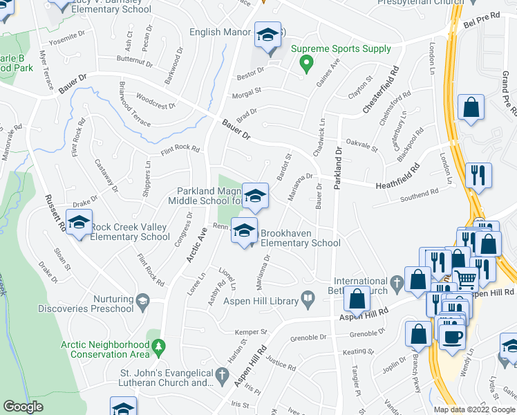 map of restaurants, bars, coffee shops, grocery stores, and more near 13816 Marianna Dr in Rockville