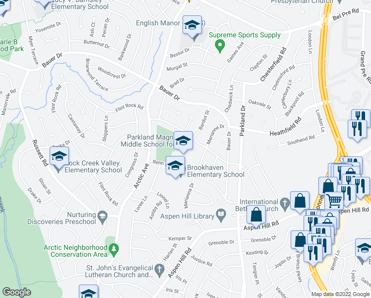 map of restaurants, bars, coffee shops, grocery stores, and more near 13816 Marianna Drive in Rockville