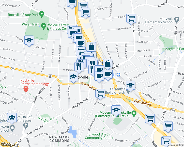 map of restaurants, bars, coffee shops, grocery stores, and more near 44 Maryland Avenue in Rockville