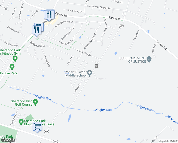 map of restaurants, bars, coffee shops, grocery stores, and more near 444 White Oak Road in Frederick