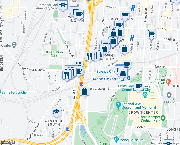 map of restaurants, bars, coffee shops, grocery stores, and more near 601 Avenida Cesar E Chavez in Kansas City