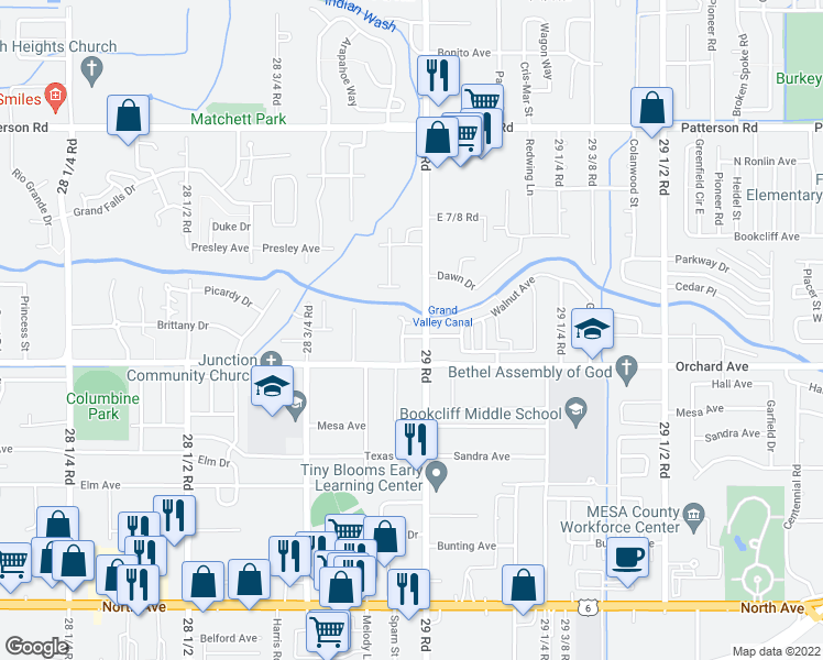 map of restaurants, bars, coffee shops, grocery stores, and more near 2896 Pinyon Avenue in Grand Junction
