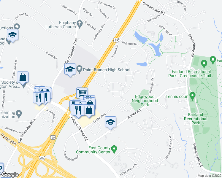 map of restaurants, bars, coffee shops, grocery stores, and more near 14000 Castle Boulevard in Silver Spring