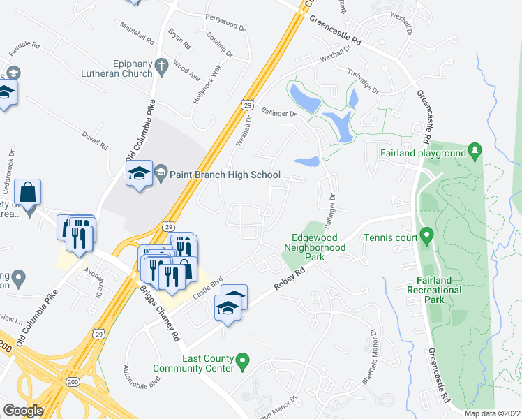 map of restaurants, bars, coffee shops, grocery stores, and more near 3301 Castle Ridge Circle in Silver Spring