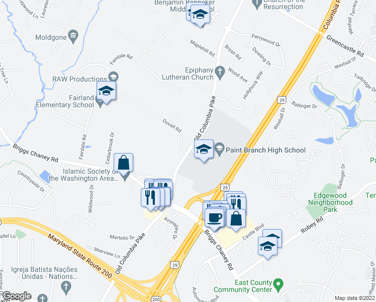 map of restaurants, bars, coffee shops, grocery stores, and more near 2915 Duvall Road in Burtonsville