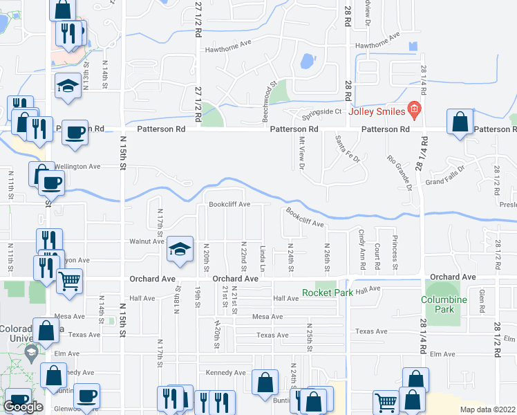 map of restaurants, bars, coffee shops, grocery stores, and more near 2285 Linda Lane in Grand Junction