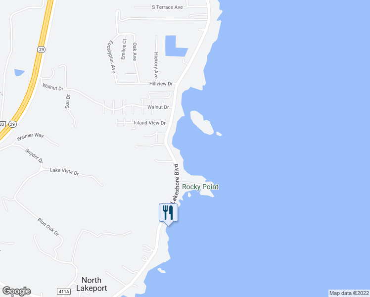 map of restaurants, bars, coffee shops, grocery stores, and more near 4040 Lakeshore Boulevard in Lakeport