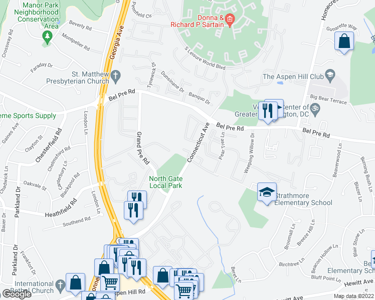 map of restaurants, bars, coffee shops, grocery stores, and more near 4122 Peppertree Lane in Silver Spring