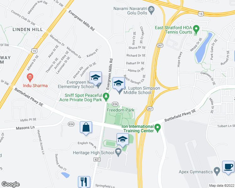 map of restaurants, bars, coffee shops, grocery stores, and more near 490 Evergreen Mills Road in Leesburg