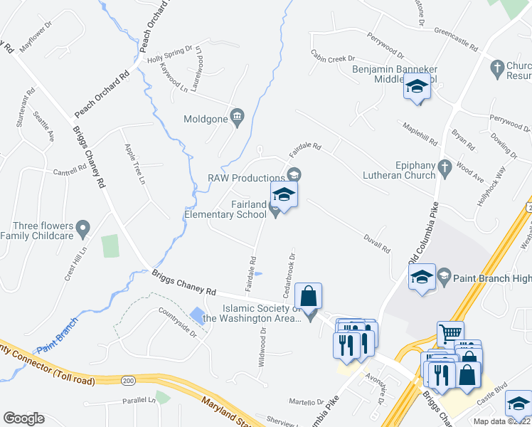 map of restaurants, bars, coffee shops, grocery stores, and more near 14324 Fairdale Road in Silver Spring