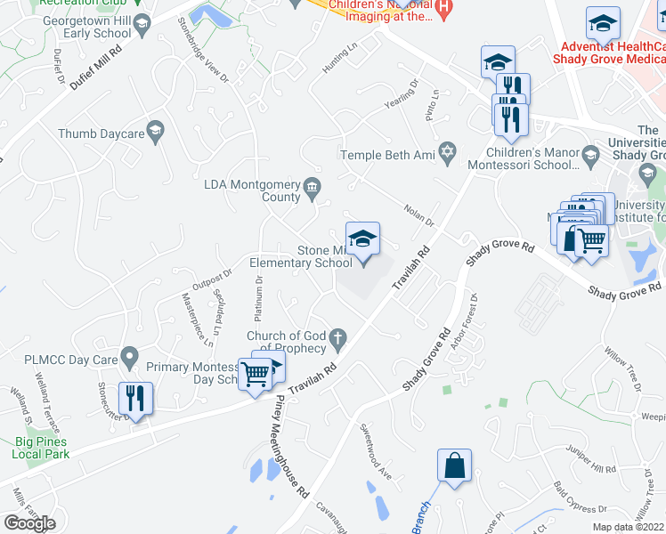 map of restaurants, bars, coffee shops, grocery stores, and more near 10413 Quietwood Drive in North Potomac