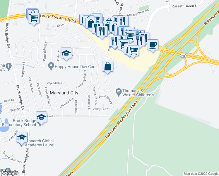 map of restaurants, bars, coffee shops, grocery stores, and more near 3472 Andrew Court in Laurel