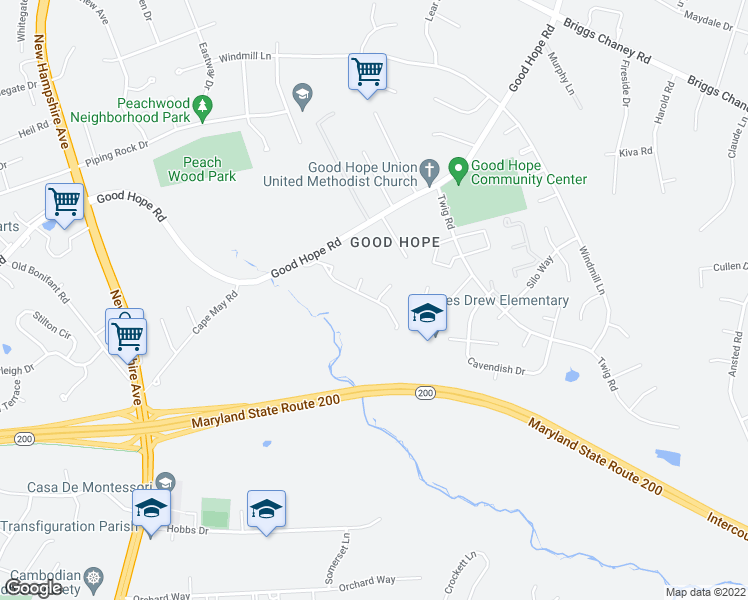 map of restaurants, bars, coffee shops, grocery stores, and more near 1100 Good Hope Drive in Silver Spring