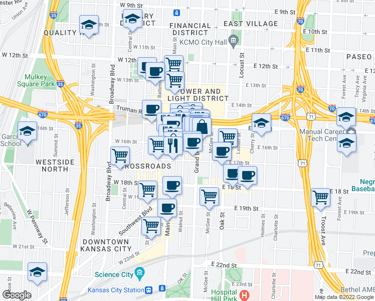 map of restaurants, bars, coffee shops, grocery stores, and more near 1601 Walnut Street in Kansas City