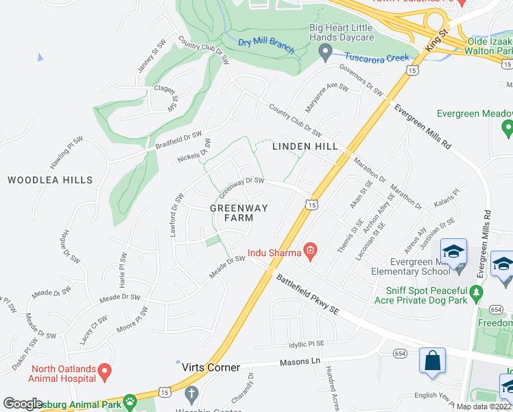 map of restaurants, bars, coffee shops, grocery stores, and more near 154 Connery Terrace Southwest in Leesburg