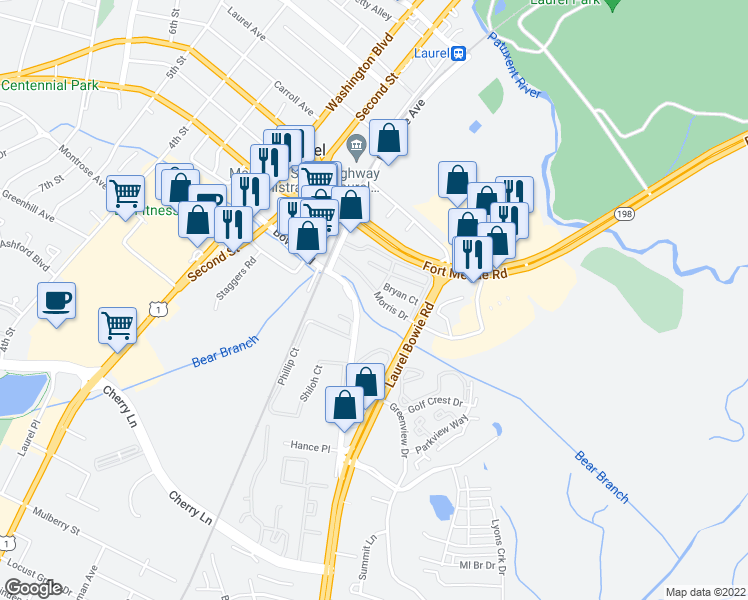 map of restaurants, bars, coffee shops, grocery stores, and more near Parkside Drive in Laurel