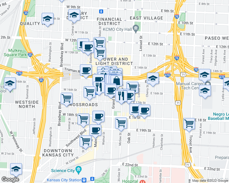 map of restaurants, bars, coffee shops,